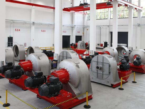 Assembly of 20 CONTURBEX screen worm centrifuges CX 1500 at Muelheim's Centrifuge Technology Center